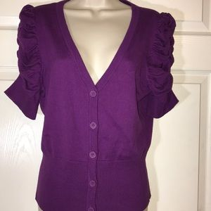 Worthington London Purple short sleeve cardigan